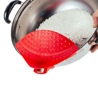 Pot Drainer Strainer Sieve Filter Pasta Clip On Pot Pan Plastic Kitchen Colander