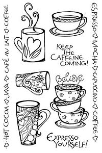 Coffee Java Clear Unmounted Rubber Stamps Set Impression Obsession Zenspirations