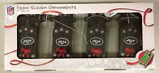 NY New York Jets Sled Sleigh Holiday Christmas Tree Ornaments 4 pack NEW