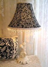 "SALE 9"" LAMPSHADE BLACK  White Toile fabric Shabby Rose Cottage chic lamp shade"