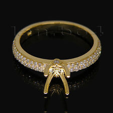 Solid 18kt Yellow Gold Engagement Wedding Semi-Mount Ring Round Cut 5mm