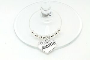 Personalised Silver Family Wine Glass Charms Party Table Decorations Christmas