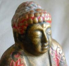 Vintage Japanese Buddha Incense Burner Chalkware/Plaster Red/Orange Gold