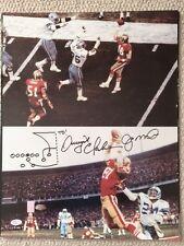 JOE MONTANA+DWIGHT CLARK SIGNED 16x20 PHOTO   49ers   HAND DRAWN THE CATCH   JSA