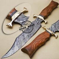 BEAUTIFUL CUSTOM HAND MADE DAMASCUS STEEL HUNTING BOWIE KNIFE   OLIVE WOOD HAND