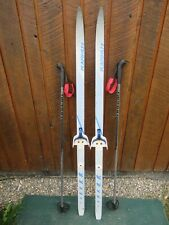 """GREAT Ready to Use Cross Country 54"""" KARHU 140 cm Skis WAXLESS Base + Poles"""