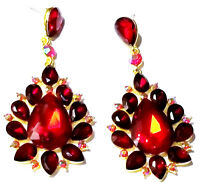 Red Chandelier Earrings Rhinestone Crystal 3 inch Long Pageant Bridal Drag Prom