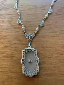 Antique Art Deco Camphor Glass Diamond Sterling Silver Filigree Necklace #659