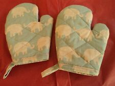Children's ELEPHANTS Oven Mitts, Handmade, Turquoise, Quilted, Lined,100% Cotton