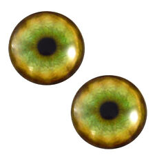 Pair of 25mm Tiger Glass Eyes Cabochons Set for Jewelry, Taxidermy, Doll Making