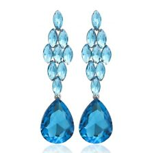 Dangle Earrings Studs E1477b Blue Marquise Drop Crystal Rhinestone Chandelier