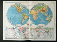 Vintage Map Of The World Physical 1952