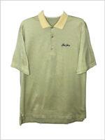 Peter Millar Golf mens medium polo shirt Sea Island yellow mercerized cotton