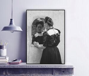 Frida Looking into the Mirror - Frida Kahlo Vintage Photo Print / Folk Costume
