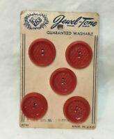 "*Vintage Set 5 JEWEL TONE Red Plastic Buttons on Original Card 7/8"""