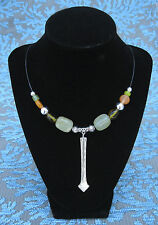 Unique Vntg Silverplate Spoon Pendant Necklace w/ Polished Stone & Glass Beads