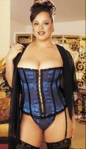 Lingerie Corset Blue Bustier Plus Size Women Eye Lace Up Swing Hook