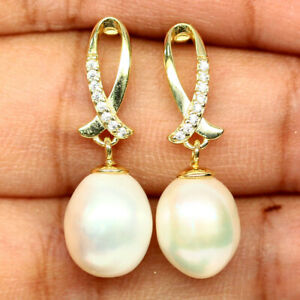 NATURAL 9 X 11mm. CREAMY WHITE PEARL & WHITE CZ EARRINGS 925 SILVER STERLING