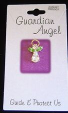 August birthstone Guardian Angel pin, peridot crystals, carded