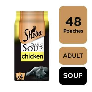 48 x 40g Sheba Classics Soup Wet Cat Food Pouches with Chicken Fillets