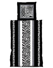 4 tlg Bettwäsche 155 x 220 cm Zebra schwarz weiß grau Set Übergröße