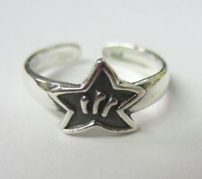Star Design Solid 925 Oxidized Jewelry 2pcs Sterling Silver Adjustable Toe Ring