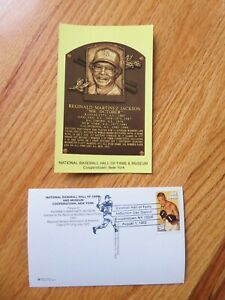 REGGIE JACKSON Induction HALL OF FAME Plaque Aug 1 1993 CANCELED Stamp YANKEES