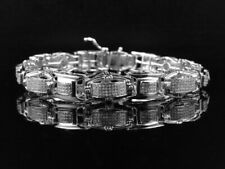 Mens Pave Set Genuine White Diamond Custom Bracelet In White Gold Finish 2.0 Ct