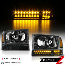 [BLACK] 1999-2004 Ford F250 F350 SD LED Amber Parking Corner Bumper Head Lights