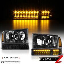 [BLACK] 1999-2004 Ford F250 F350 SD LED Amber Parking Corner Bumper Head Lights