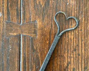 Early 19th C. Hearth primitive Heart form fork 30 inches