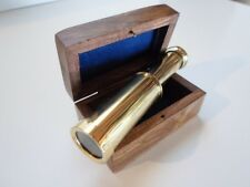 "4"" Brass Telescope w/ Wooden Box~ Nautical Spyglass ~ Monocular"