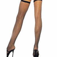 Fishnet Stockings Thigh High Black One Size fits AU 8-12