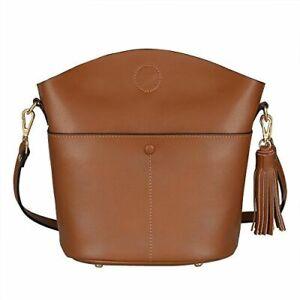 New S-ZONE 100% Tan Leather Dome Framed Cross Body Shoulder Bag Handbag