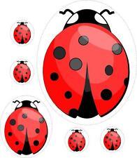 Set 6x sticker decal vinyl car bike laptop macbook bumper kid ladybug