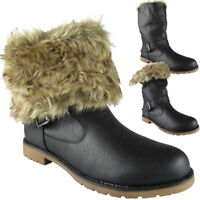 New Womens Ladies Winter Fur Lining Buckle Work Mid Calf Ankle Boots Shoes Size