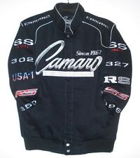 3XL Chevrolet Camaro Embroidered Racing Cotton Black  Jacket  JH Design