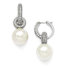 Majestik 925 Sterling Silver 12-13mm White Shell Pearl & CZ Hoop Earrings