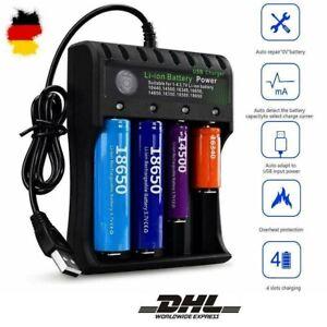 4-Slots LCD Akku Ladegerät + USB Kable für 18650 21700 Lithium Batterie TOP