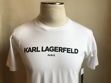 KARL LAGERFELD WHITE BLACK LOGO SIGNATURE PARIS PRINT T SHIRT S SMALL