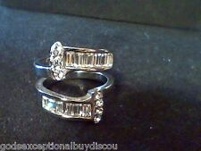 PLATINUM & STS  BAGUETTE & ROUND LCS DIAMOND  WEDDING RING GUARD ENHANCER SZ 8