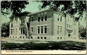 "Burlington, Kansas Postcard ""Central High School"" Building View / 1913 KS Cancel"