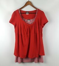 EYESHADOW Woman Plus Size 3X Tee Shirt + Cami Red Scoop Striped Top 2Fer