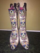 Blazin Roxx Sugar Skull Skeleton Cowgirl Rain Boot - Snip Toe - Women's Size 7