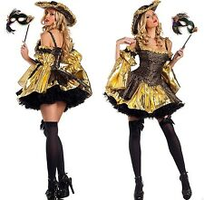 S/M 4pc Black Antoinette Renaissance Pirate Costume Masquerade Halloween Cosplay