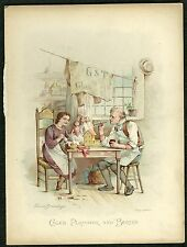 Book plate - Dickens characters - chromolithograph - 'Caleb Plummer and Bertha'