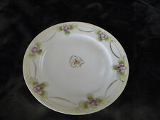 "Vintage Nippon 7.5"" Hand Painted Salad Plate/Purple Flowers w/Silver Highlights"