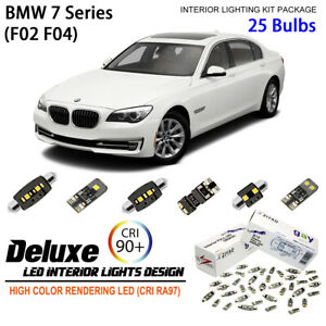 25 Bulbs Full LED Interior Light Kit Xenon White Lamps For F02 F04 BMW 7 Series