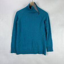 Garnet Hill Women XS Cashmere Mock Neck Turtleneck Sweater Green Zip Collar