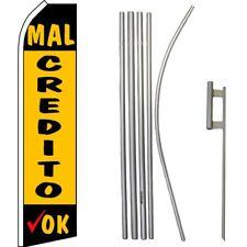Mal Credito Ok Black / Yellow Swooper Flag & 16ft Flagpole Kit/Ground Spike